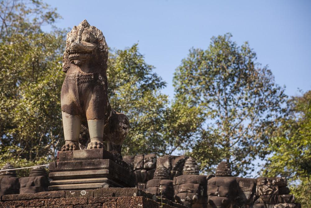 Lion sculpture in Ankor Thom. Cambodia