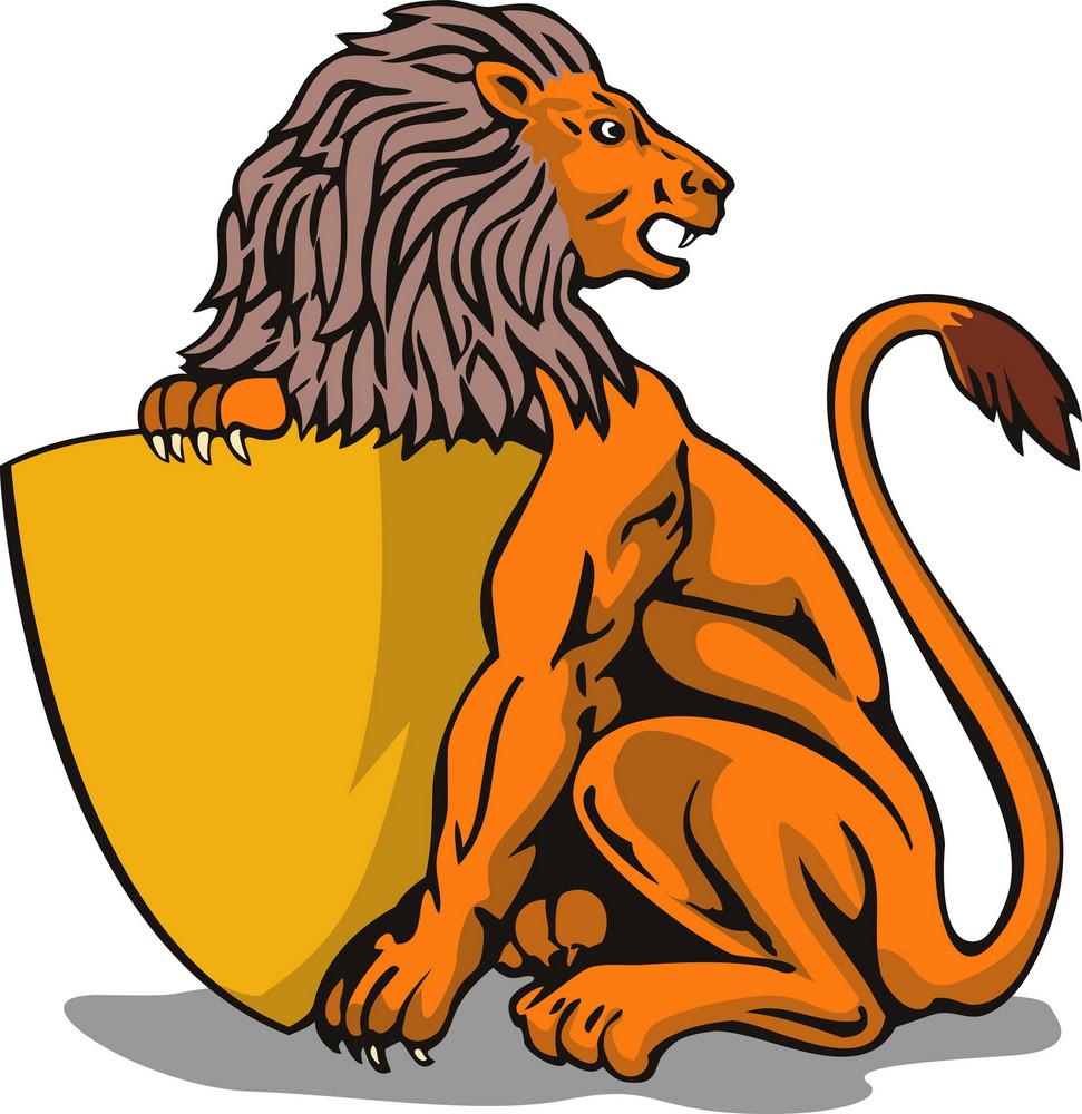 Lion Shield Retro