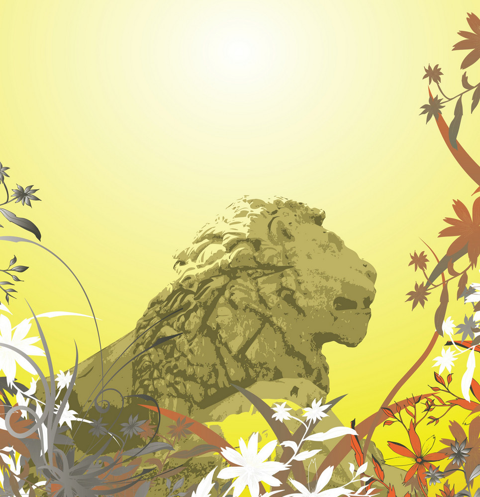 Lion Statue With Floral Background