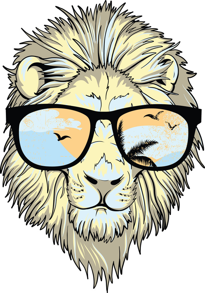 Lion With Sunglasses Vector T-shirt Design
