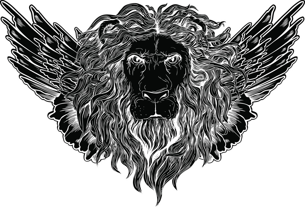 Lion With Wings Vector T-shirt Design