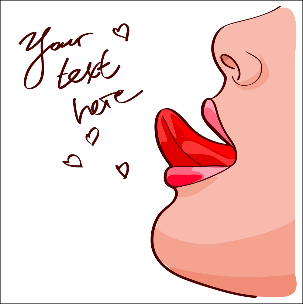Lips And Mouth With Tongue.. Vector Illustration