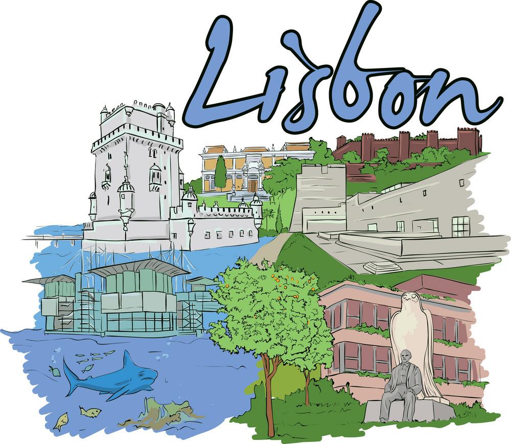Lisbon Vector Doodle