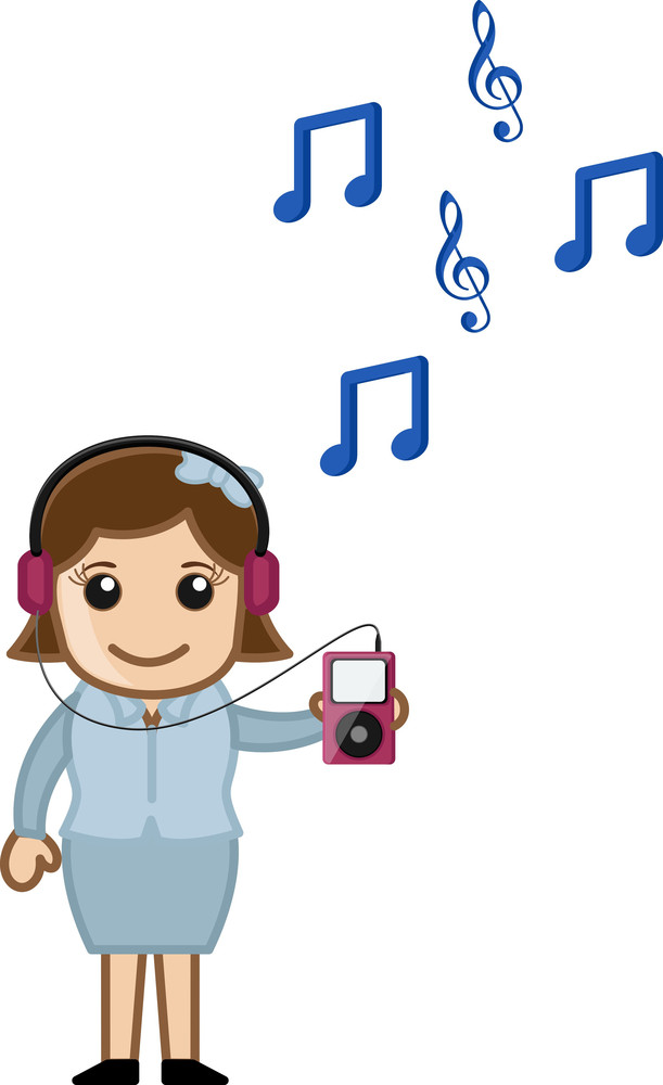Listening To Music Over Mp3 Player - Business Cartoons Vectors