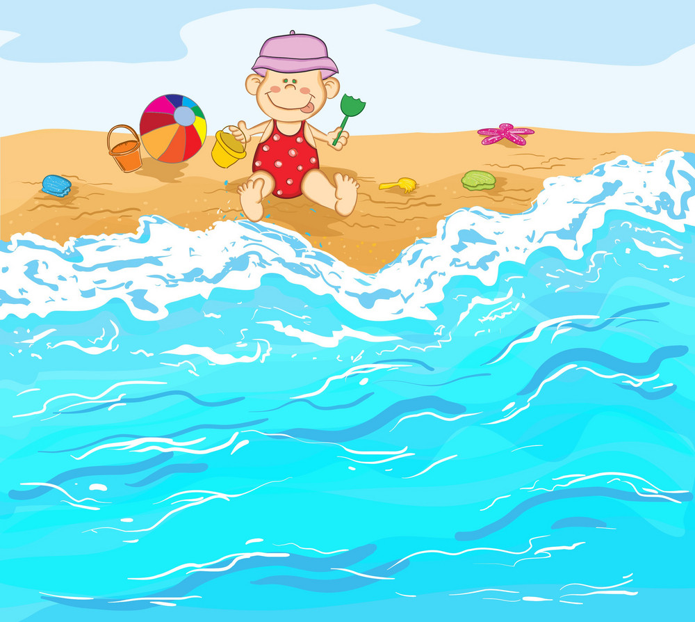 Little Baby Boy Playing On The Beach Vector Illustration