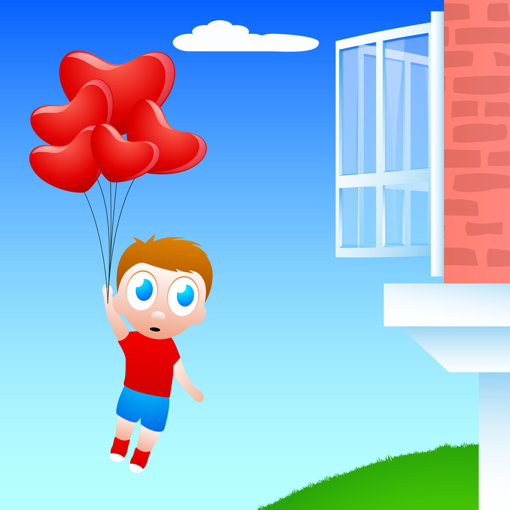 Little Boy Flying With Heart Shapes Balloons