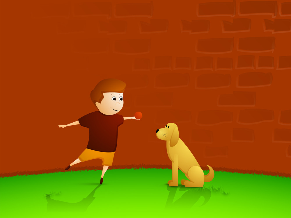 Little Boy Playing Ball With Puppy For Friendship Day Concept