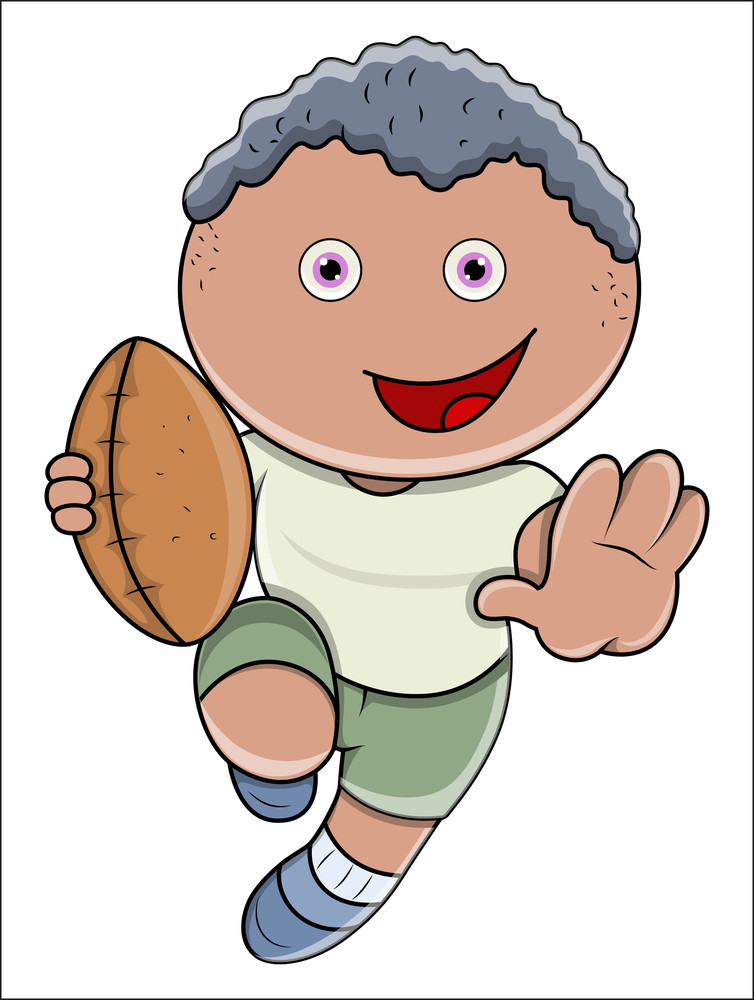 Little Boy Playing Rugby - Vector Cartoon Illustration