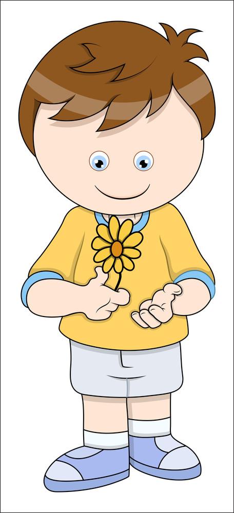 Little Boy With Flower - Vector Cartoon Illustration