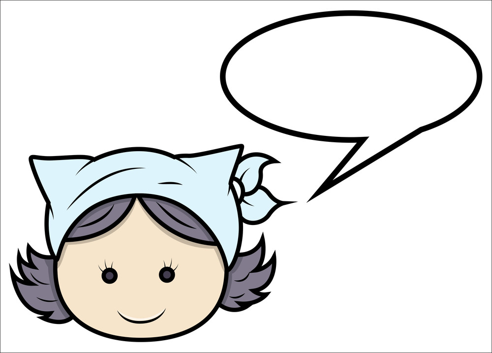 Little Girl Communication - Vector Cartoon Illustration
