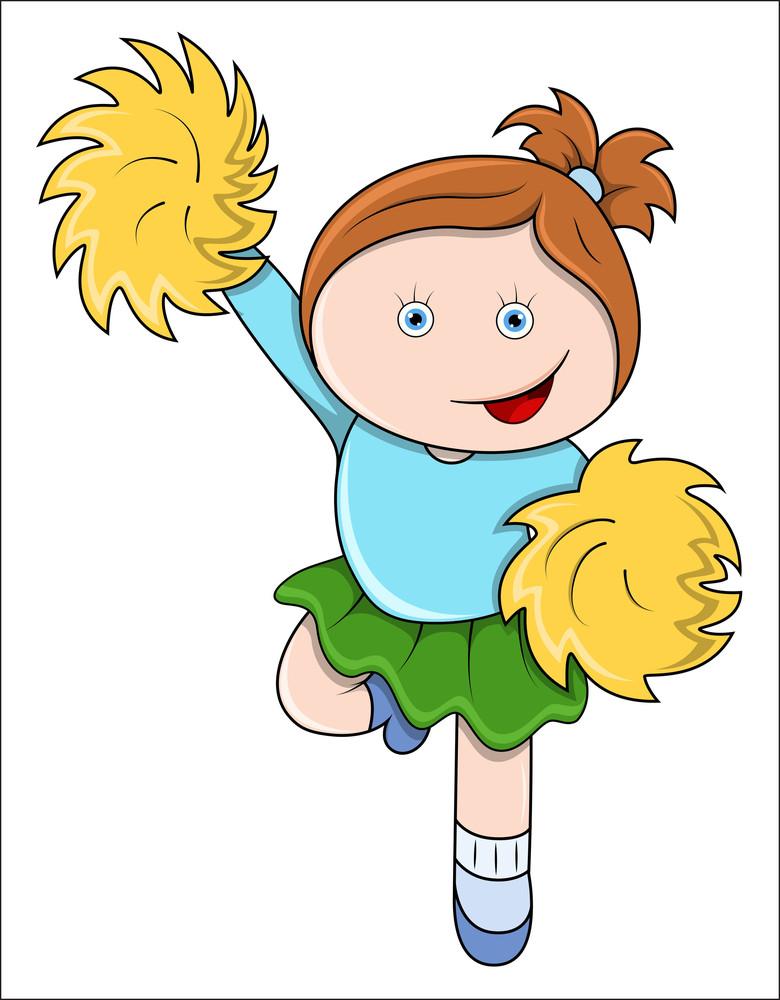 Little Girl Jumping As A Cheer Leader - Vector Cartoon Illustration