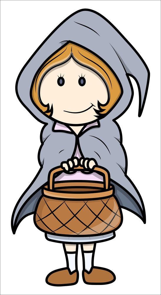 Little Girl On Halloween - Vector Cartoon Illustration