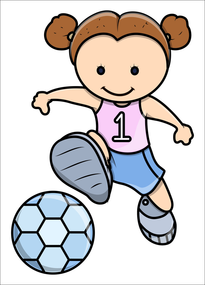 Little Girl Playing Football - Vector Cartoon Illustration
