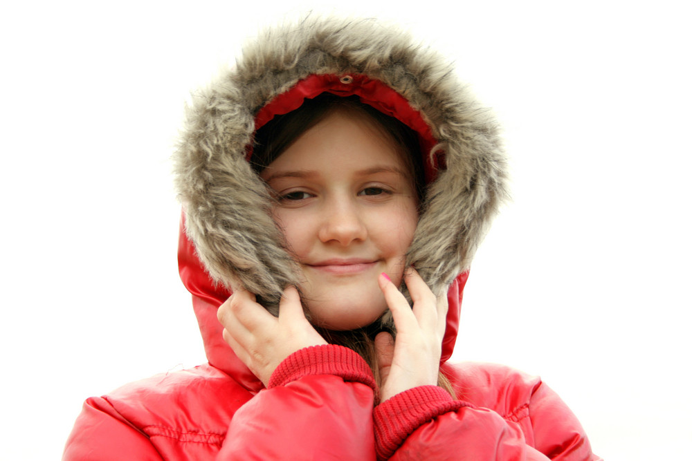 Little Girl Wearing Winter Clothes