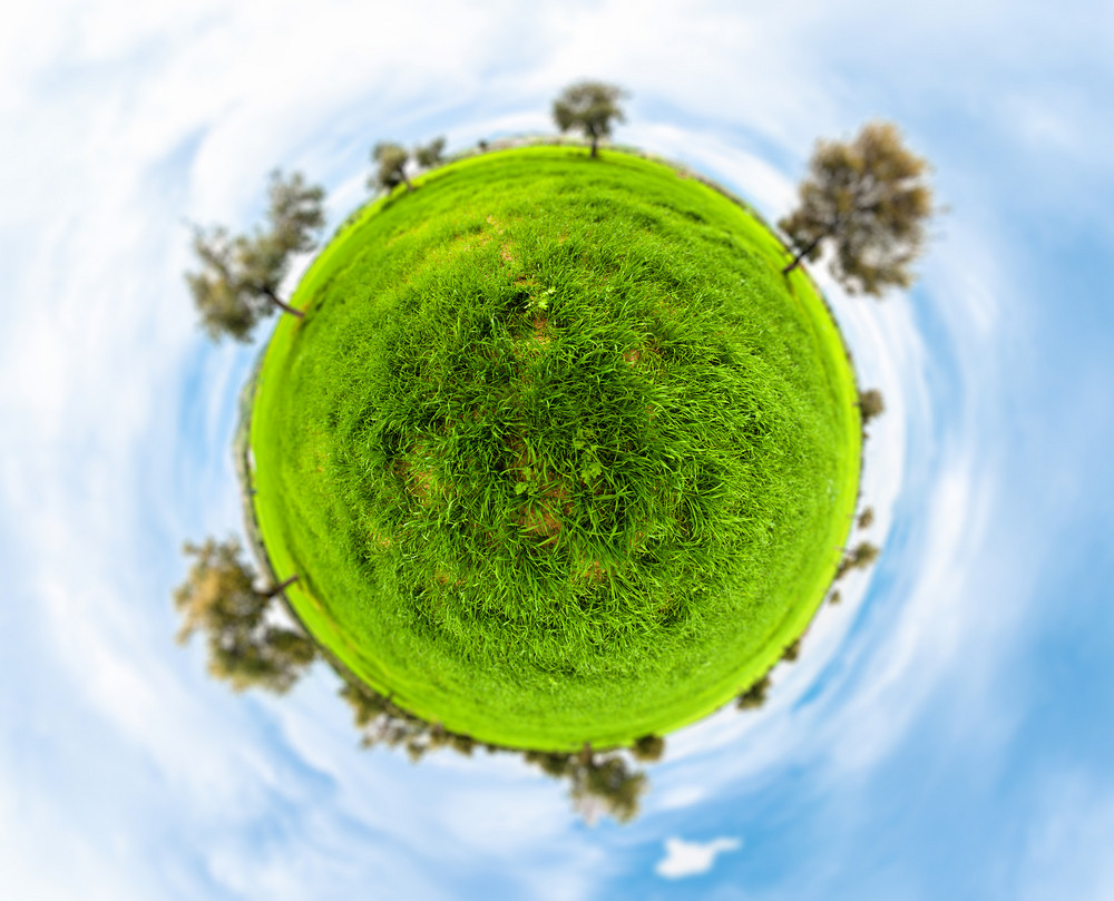 Little Planet With Clear Thick Grass Lawn