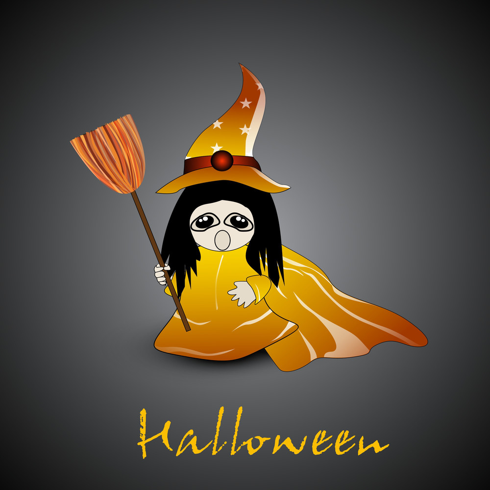 Little Witch With Broom Stick And Hat On Grey Background For Halloween Night