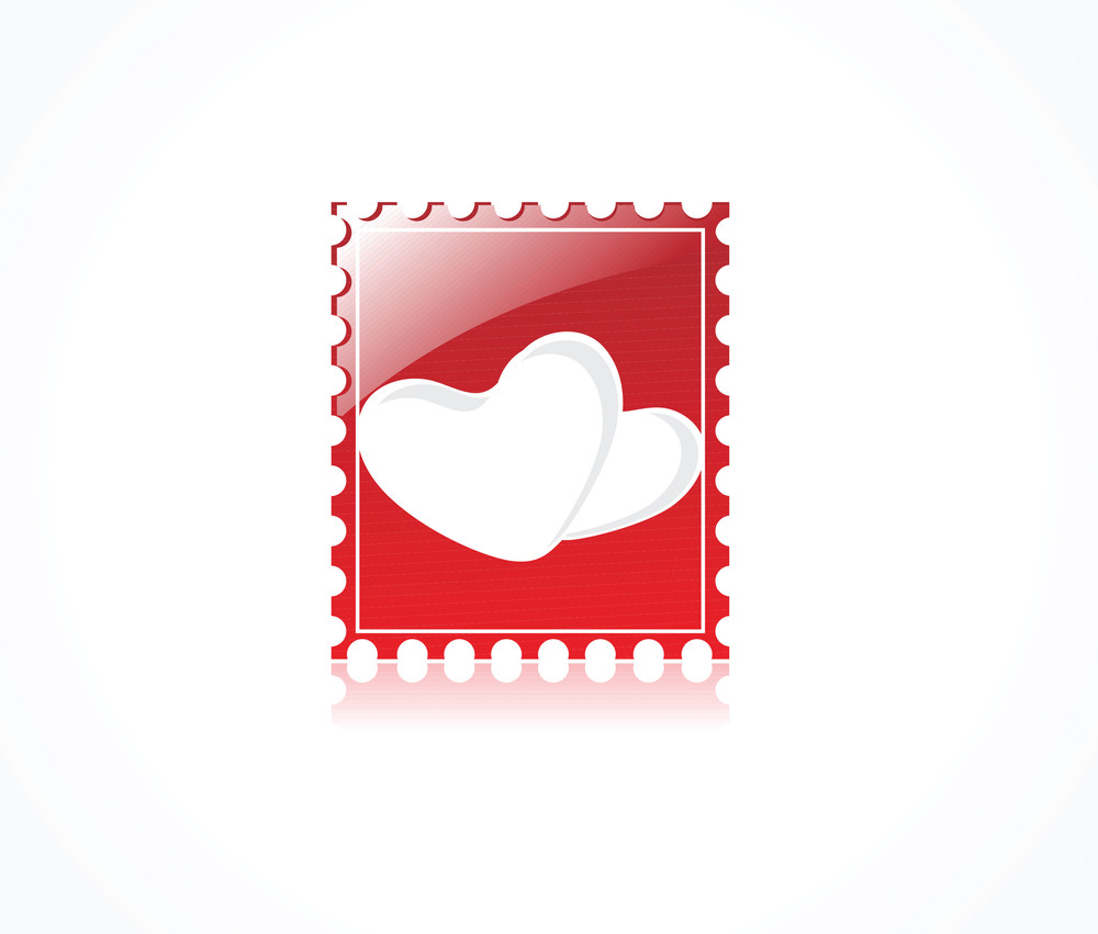Logo Of Bright Heart On Red Gradient Background