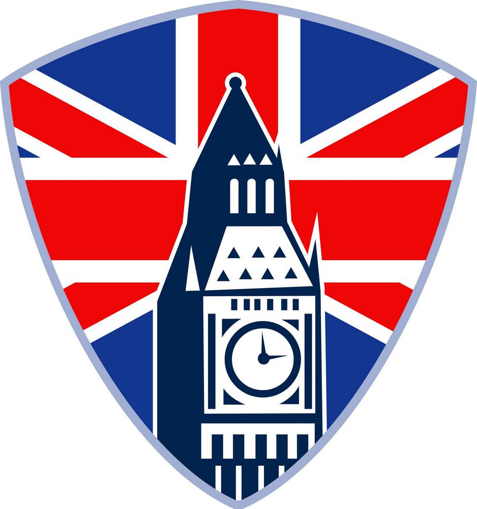 London Big Ben Clock Tower British Flag