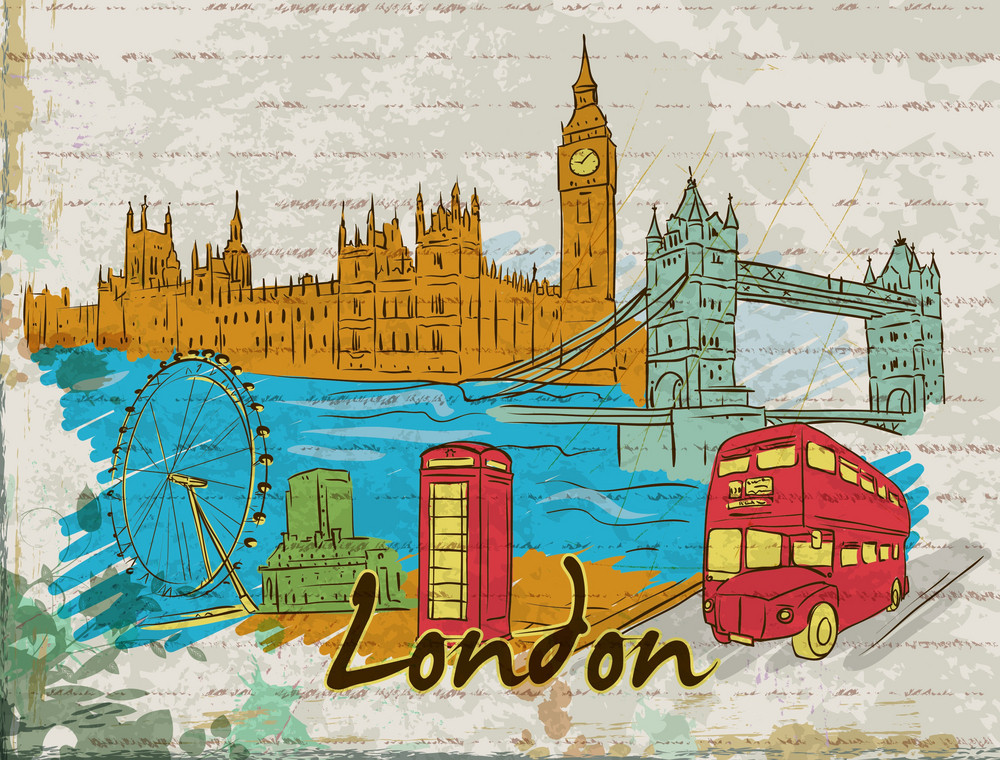 London Doodles With Grunge Background Vector Illustration