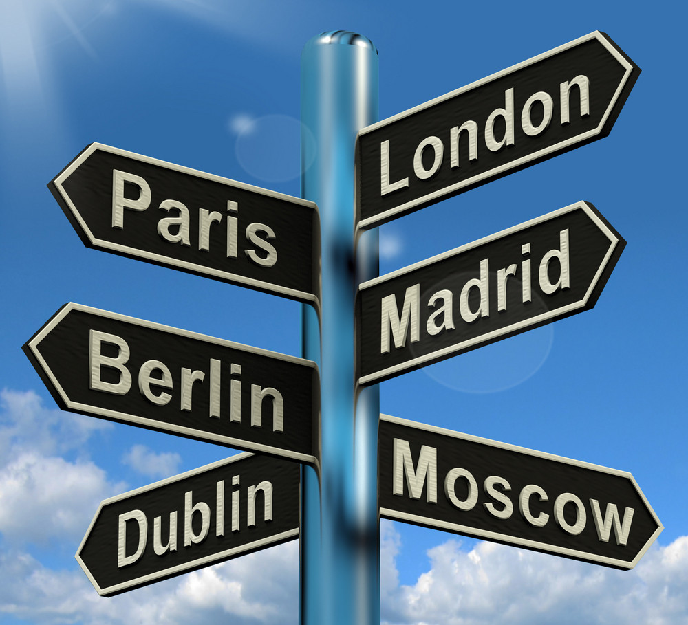 London Paris Madrid Berlin Signpost Showing Europe Travel Tourism And Destinations