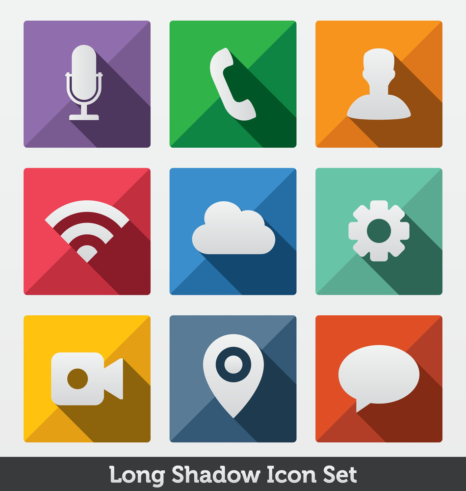 Long Shadow Icon Set | Trendy Design | Most Popular App Icons | Modern Minimal Look | Clean Design Concept | Fashionable Layout