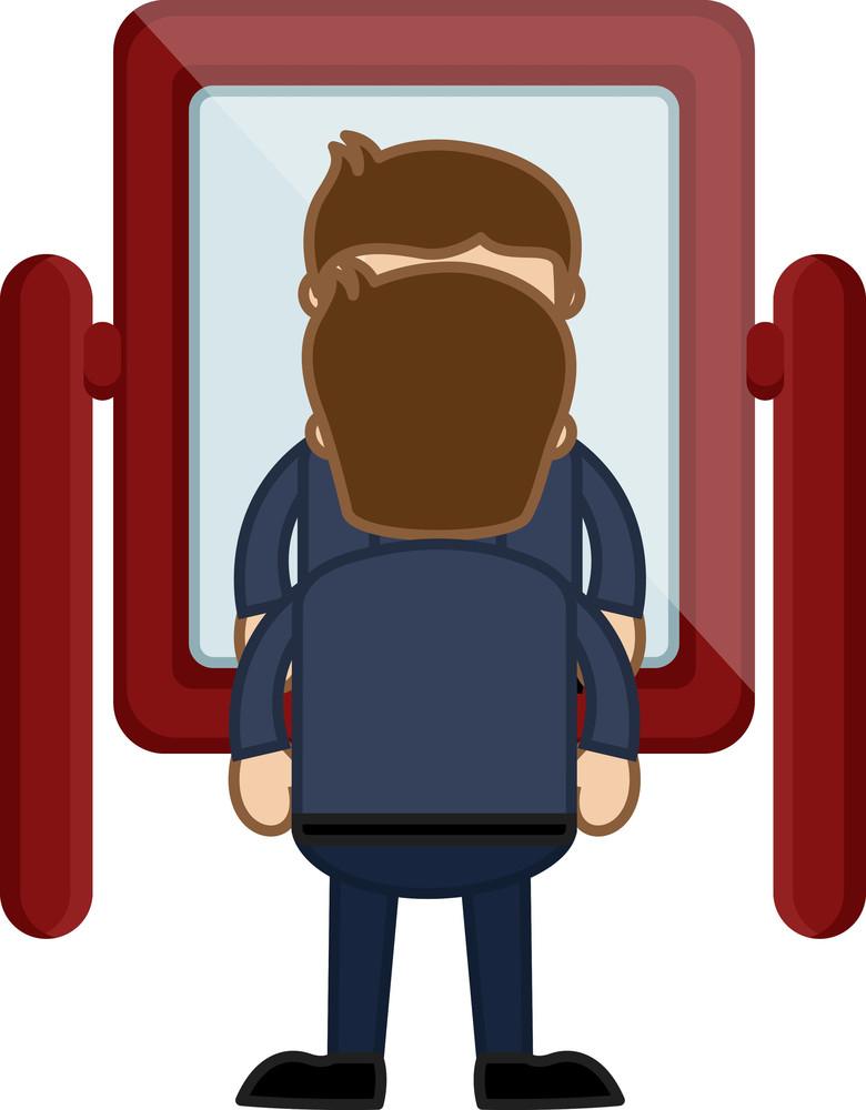 Looking At Mirror - Vector Character Cartoon Illustration