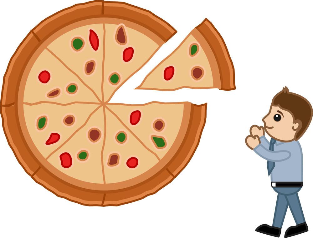 Looking For Pizza - Cartoon Vector