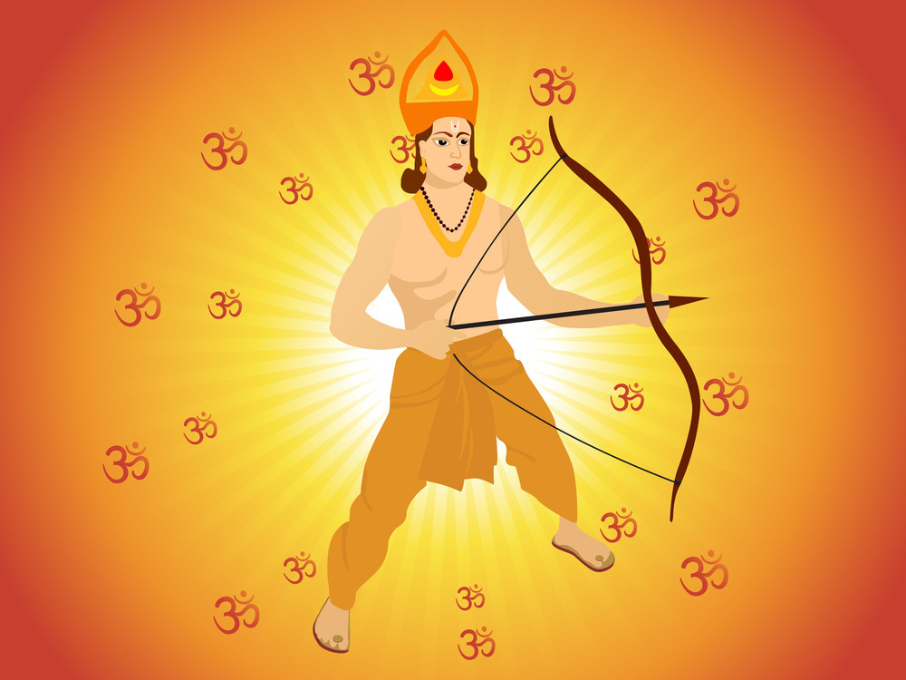 Lord Rama Stand With Rays Bacvkground