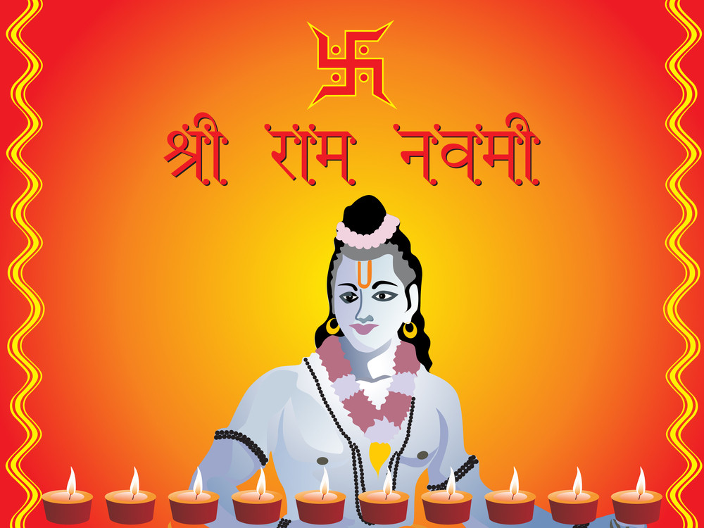 Lord Rama With Lit Lamps Illustration