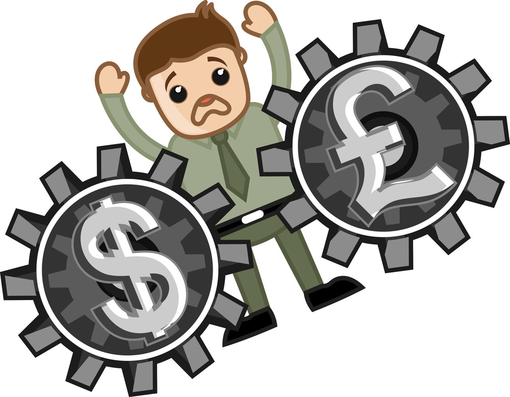 Loss In Currency Exchange Business - Vector Illustration