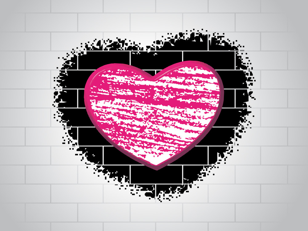 Love Background With Brick Design