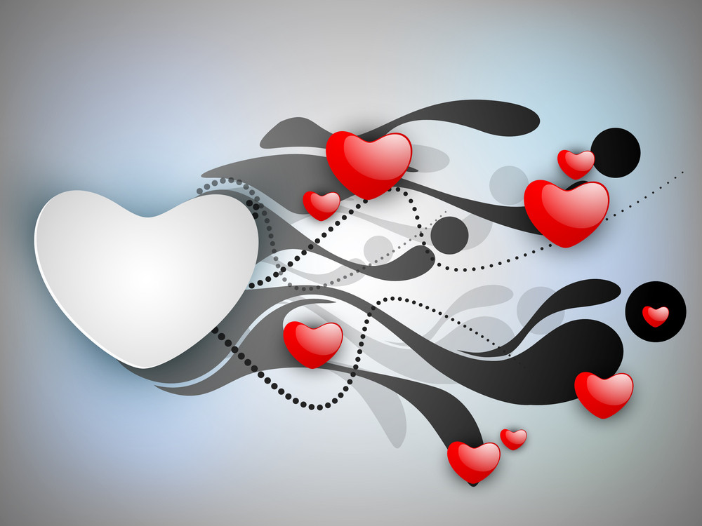 Love Background With Red Valentine Hearts And Blank Message Card.