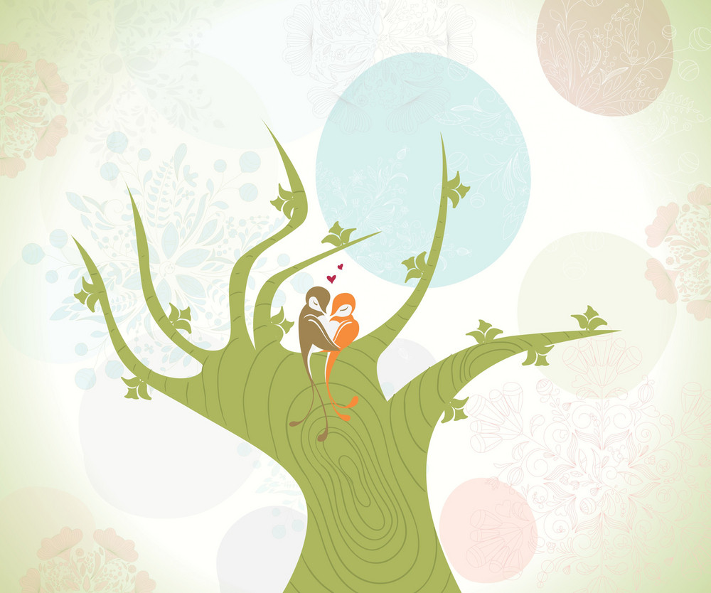 Love Birds Vector Illustration