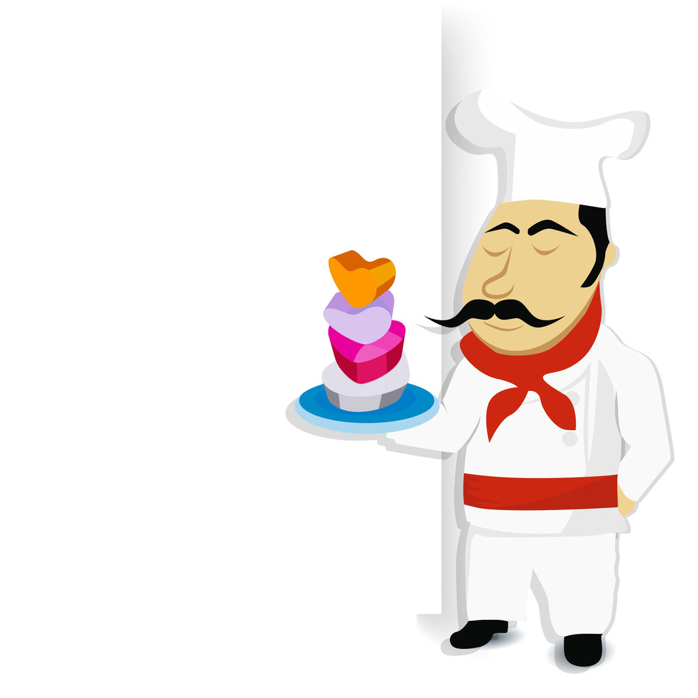 Love Concept With A Chef Holding A Dish In Heart Shape