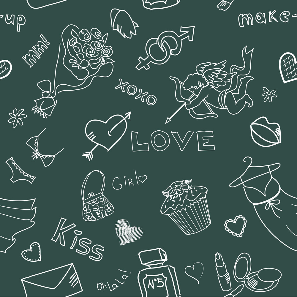 Love Doodles. Seamless Background