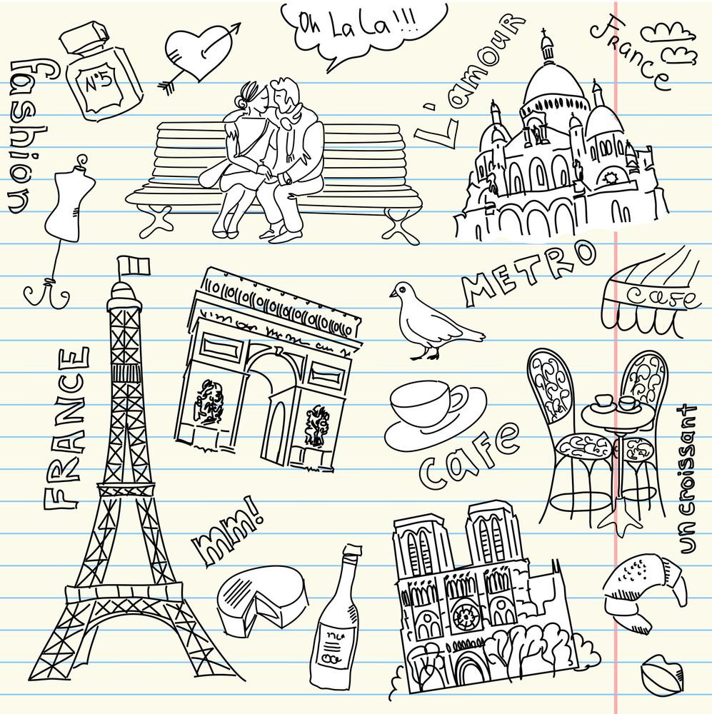 Love In Paris Doodles-