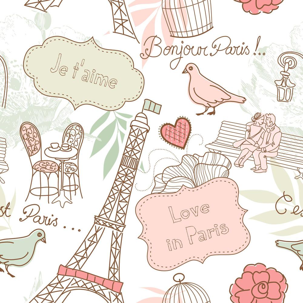 Love In Paris. Seamless Pattern