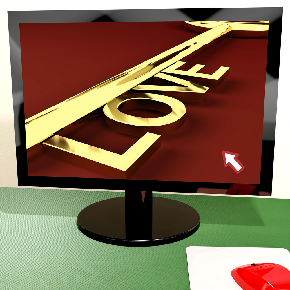 Love Key On Computer Screen Showing Online Dating