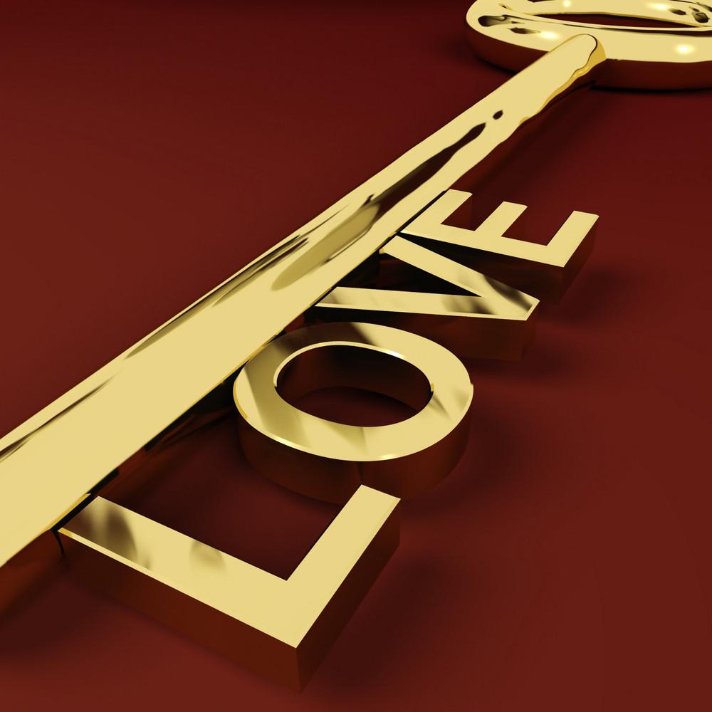 Love Key Representing Adoration And Romance