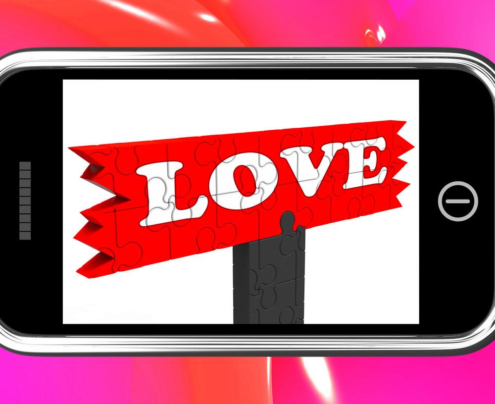 Love On Smartphone Shows Romance