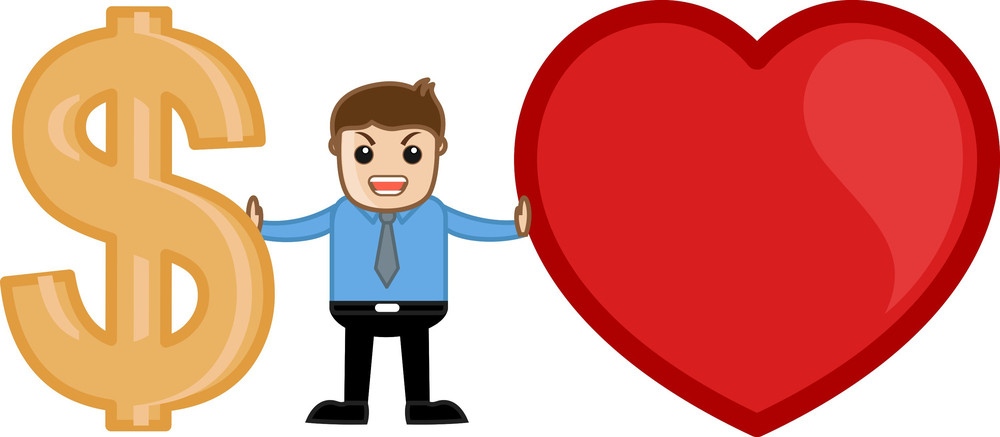 Love Or Money Concept Cartoon Vector