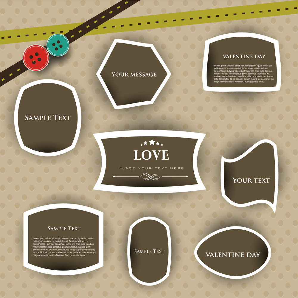 Love Tags Or Stickers For Valentines Day.