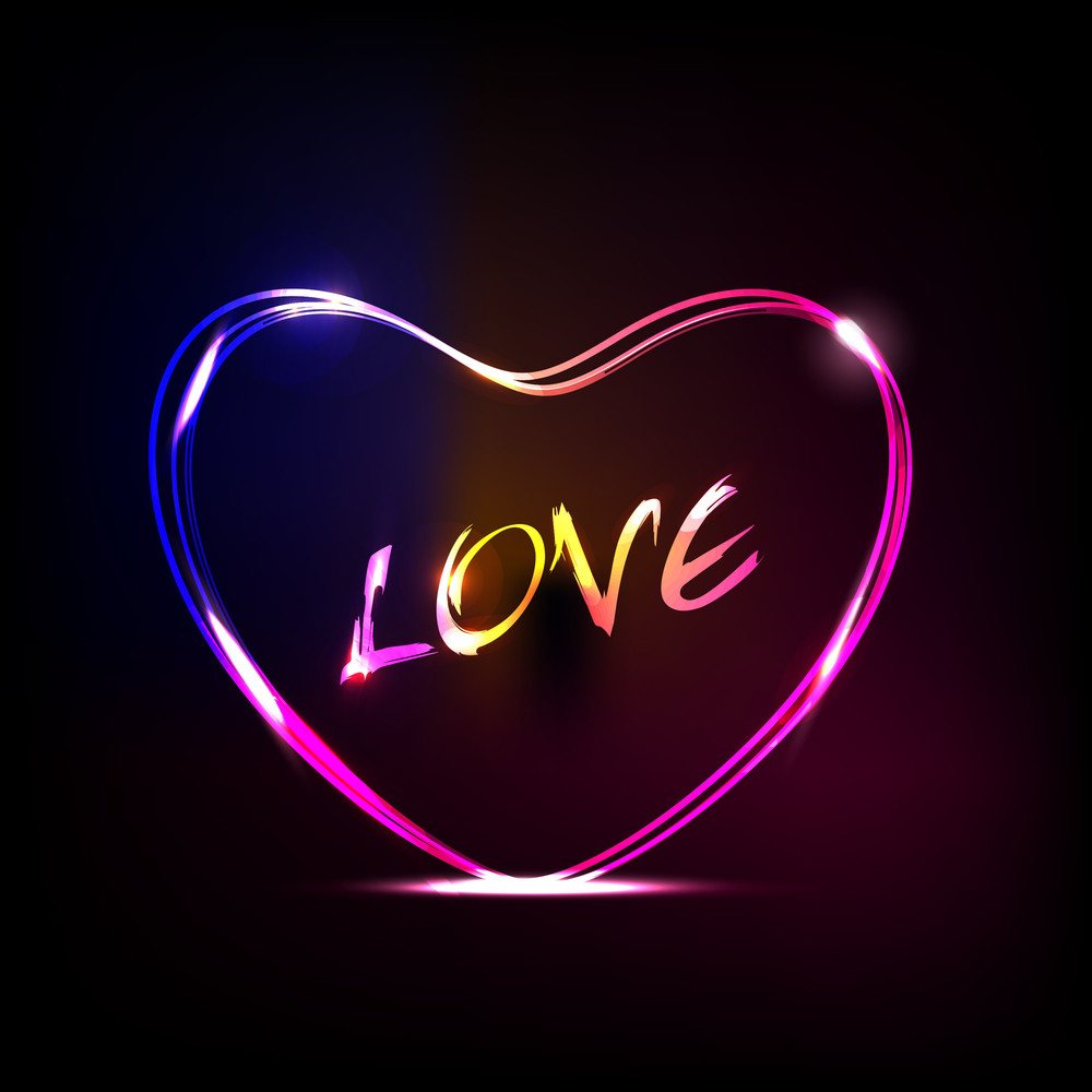 Love Text In Heart Shap With Colorful Glossy Effect Eps10 Vector Illustration.