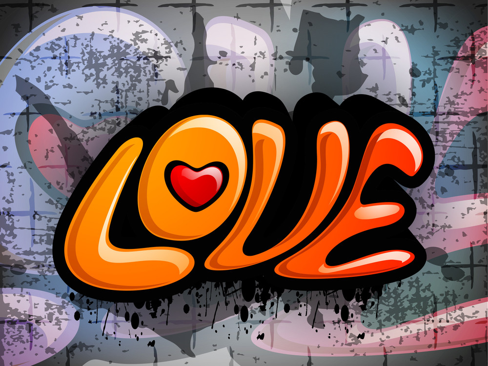 Love Text On Colorful Grungy Background.