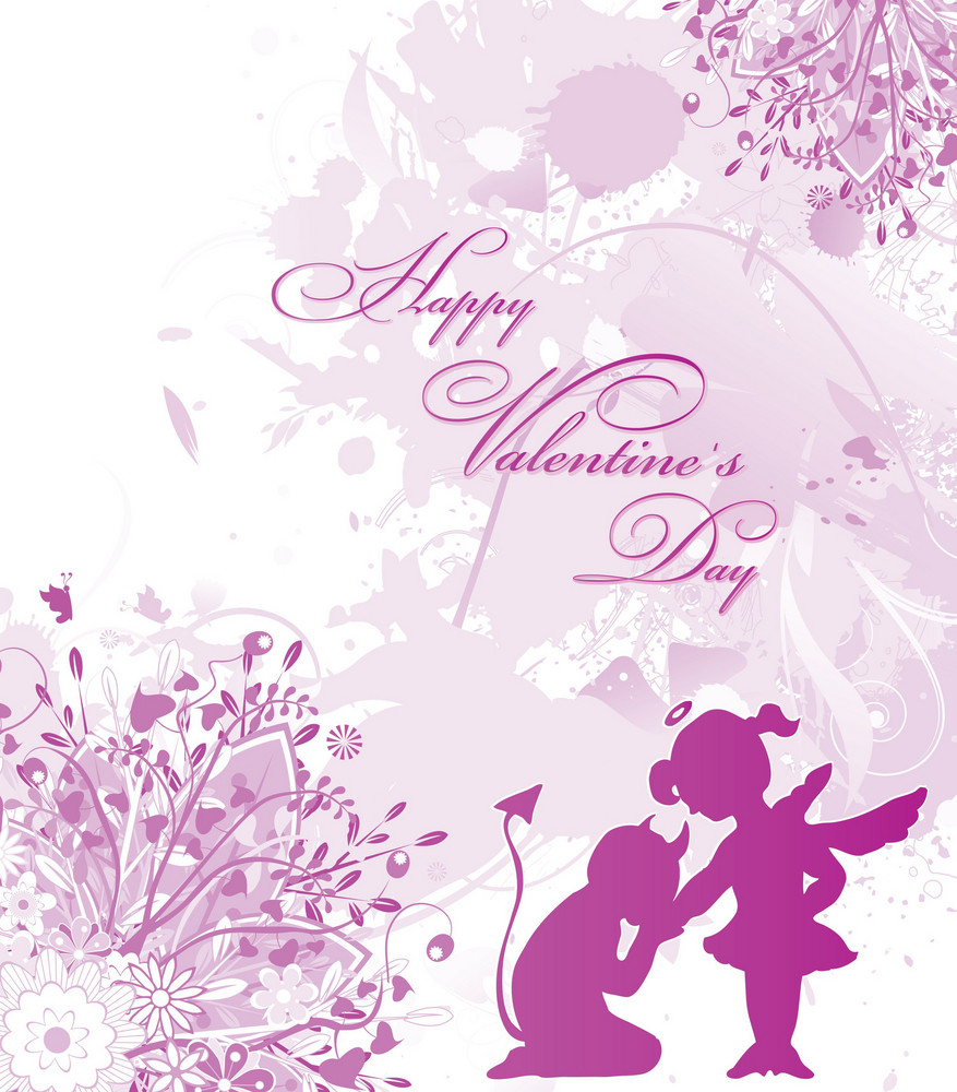 Love Vector Illustration With Floral And Love Silhouettes