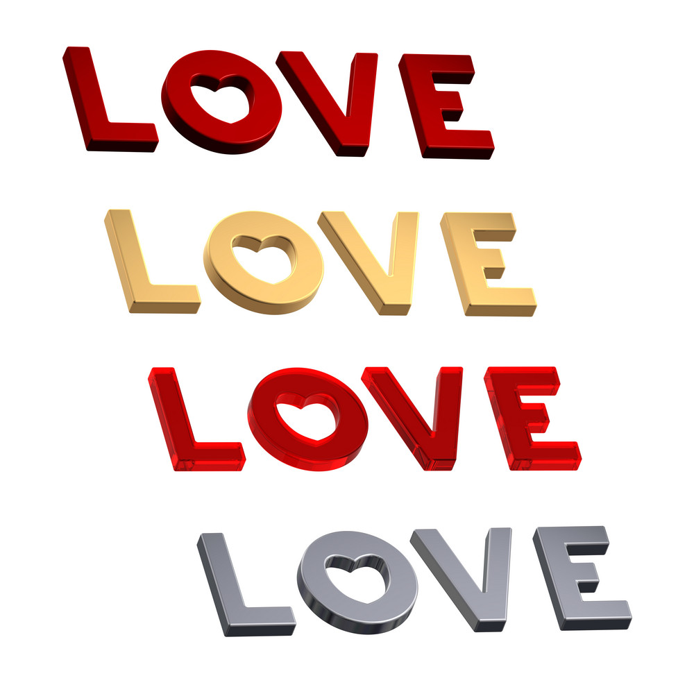 Love Word With Heart Isolated On The White.