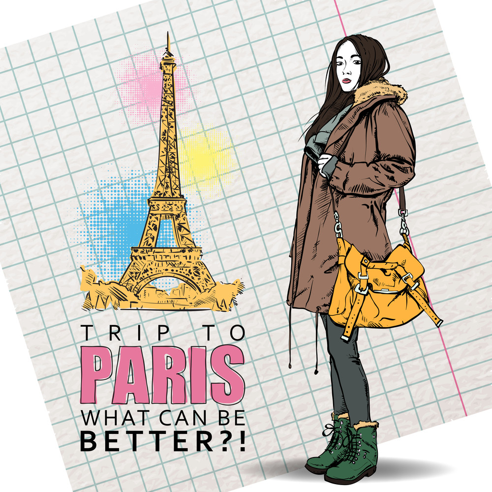 Lovely Autumnal Girl In Sketch-style On A Eiffel Tower Background. Vector Illustration