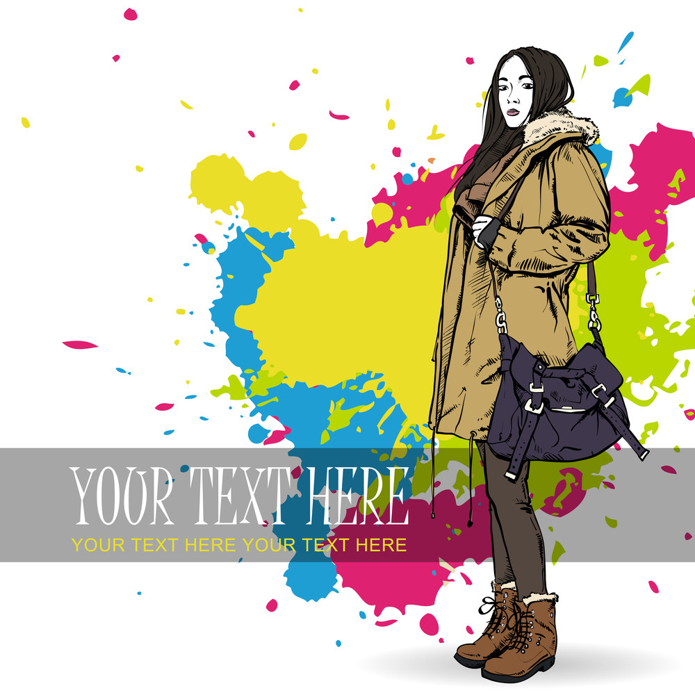 Lovely Autumnal Girl In Sketch-style. Vector Illustration
