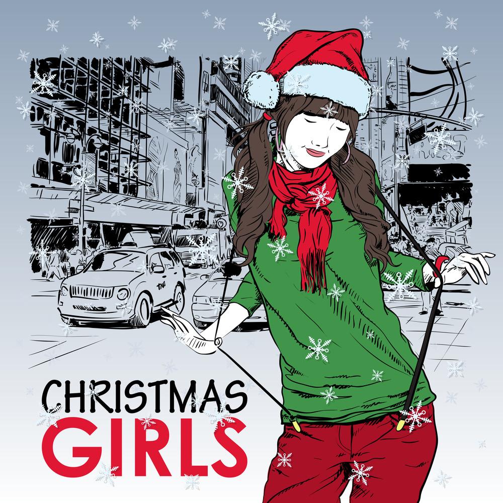 Lovely Christmas Girl On A Street Background. Vector Illustration