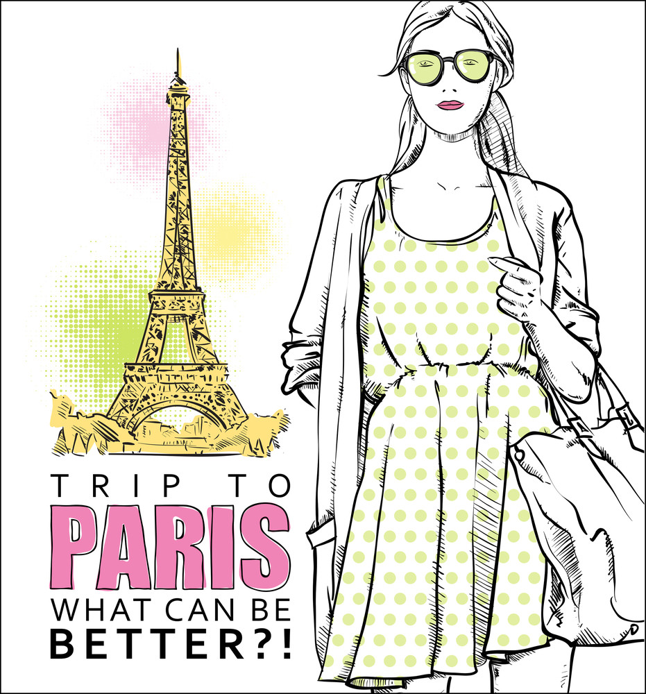 Lovely Girl In Sketch-style On A Eiffel Tower Background. Vector Illustration